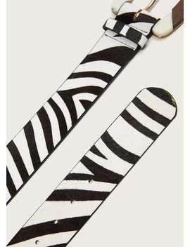 Кожаный ремень с принтом под зебру by Mango