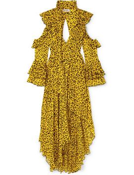 Ruffled Leopard Print Silk Georgette Wrap Maxi Dress by Diane Von Furstenberg