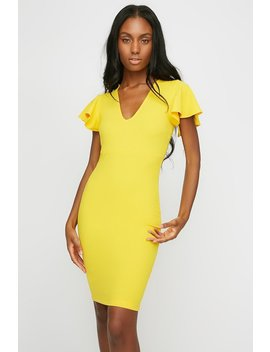 V Neck Ruffle Sleeve Bodycon Midi Dress by Urban Planet
