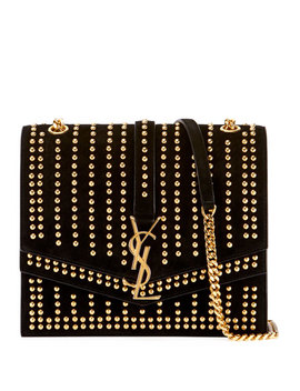 Sulpice Monogram Ysl Triple Flap Suede Crossbody Bag   Golden Hardware by Saint Laurent