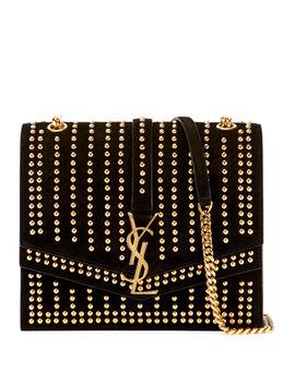 Sulpice Monogram Ysl Triple Flap Suede Crossbody Bag   Golden Hardware by Saint Laurent