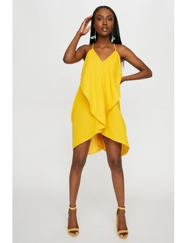 V Neck Ruffle Drape Mini Dress by Urban Planet