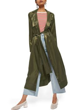 Belted Satin Duster Coat by Topshop