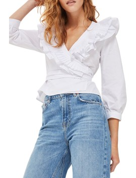 Pleat Ruffle Wrap Top by Topshop