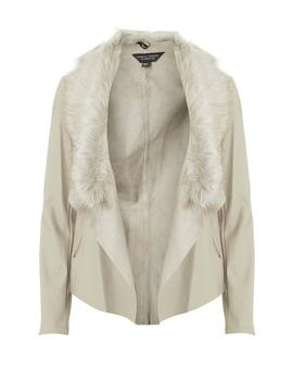 Neutral Faux Fur Waterfall Jacket by Dorothy Perkins