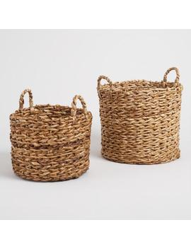 Natural Banana Leaf Multi Weave Naomi Baskets by World Market