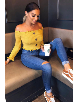 Mustard Button Up Cropped Bardot Jumper   Cielo by Rebellious Fashion