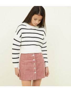Girls Pink Curduroy Button Front Mini Skirt by New Look