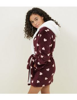 Girls Burgundy Heart Print Borg Robe by New Look
