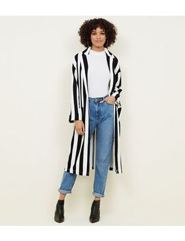 Black And White Stripe Duster Jacket by New Look