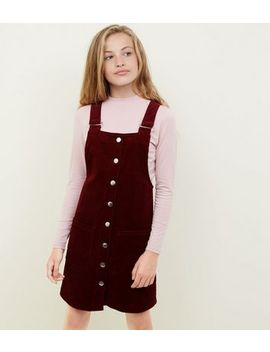 Girls Burgundy Corduroy Pinafore Dress by New Look
