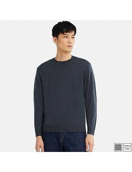 Men Uniqlo U Extra Fine Merino Crew Neck Long Sleeve Sweater by Uniqlo