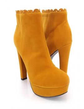 Sexy Mustard Perforated Platform High Heels Booties Velvet by Ami Clubwear