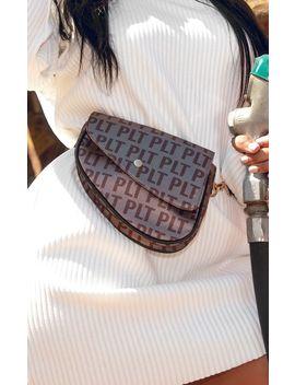 Plt Brown Logo Asymetric Bum Bag by Prettylittlething