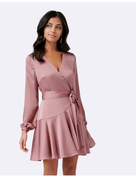 Peach Long Sleeve Wrap Mini Dress by Forever New