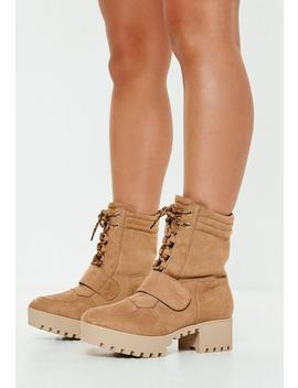 Tan Faux Suede Hiking Flat Strap Ankle Boots by Missguided