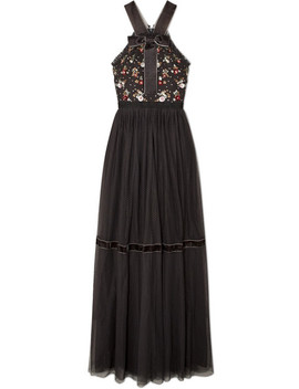 Esther Bow Detailed Embellished Point D'esprit Tulle Gown by Needle & Thread