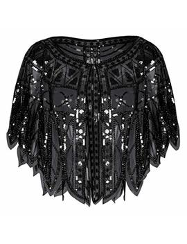 Kayamiya Women's 1920s Shawl Sequin Beaded Wedding Cape Bolero Flapper Cover Up by Kayamiya