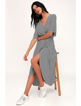 Teigen Black And White Striped Knotted Maxi Dress by Lush