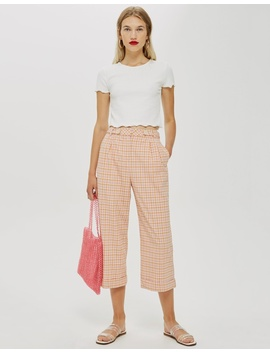 Petite Check Crop Wide Trousers by Topshop Petite