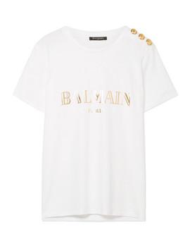 T Shirt En Jersey De Coton Imprimé à Boutons by Balmain