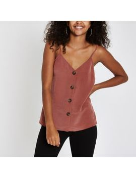 Copper Button Front Cami Top by River Island