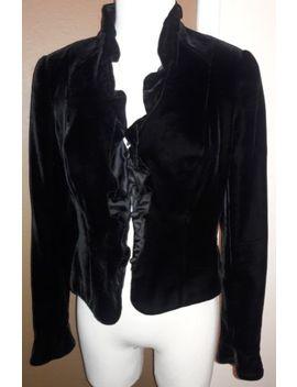 Carmen Marc Valvo Womens Blazer Jacket Black Velvet Silk Blend Stud Size 8  (S) by Carmen Marc Valvo