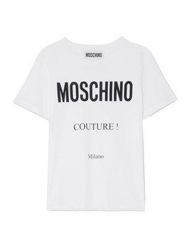 T Shirt En Jersey De Coton Imprimé by Moschino