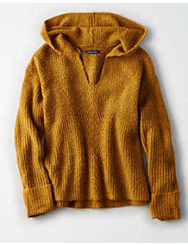 Ae Pointelle Waffle Knit Hoodie by American Eagle Outfitters