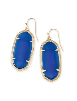 Elle Earrings In Navy Cat's Eye by Kendra Scott
