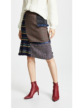 Plaid Combo Midi Skirt by Kolor