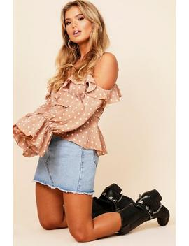 Cold Shoulder Frill Spot Wrap Blouse by Boohoo