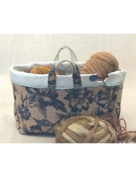 French Country Burlap Knitting Basket by Jays Crossing
