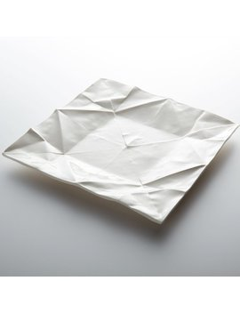 Origami Porcelain Plate, Handmade, As Platter Or Dinner Dish In The Unique Design Of Folded Paper by Moijdesign