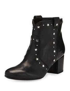 Belen Star Studded Leather Booties, Black by Neiman Marcus
