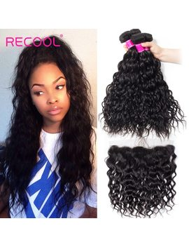 Recool Hair Brazilian Water Wave Bundles With Closure Remy Hair Lace Frontal With Bundles Deal Human Hair Bundles With Frontal by Recool