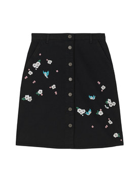 Snow White Scattered Blossom Embroidered Denim Skirt by Cath Kidston