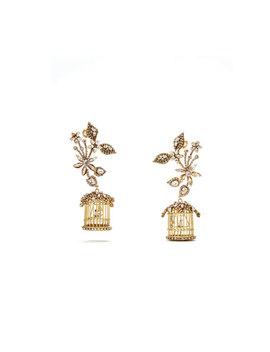 24k Swarovski Crystal Birdcage Earrings by Erickson Beamon