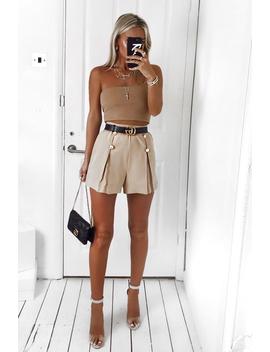 Stone Gold Button Front Shorts   Alencia by Rebellious Fashion