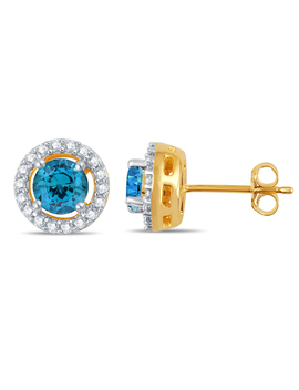 Created Blue Topaz Stud Earrings In Gold Over Silver Created Blue Topaz Stud Earrings In Gold Over Silver by Kmart