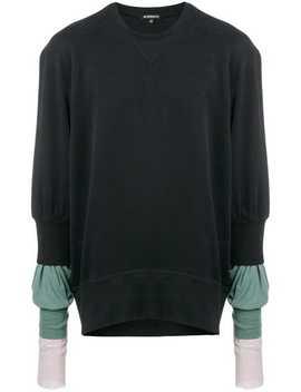 Ann Demeulemeestercontrast Sleeves Sweaterhome Men Ann Demeulemeester Clothing Sweatshirtslaced Bootsside Slits Buttoned Trouserscontrast Sleeves Sweater by Ann Demeulemeester