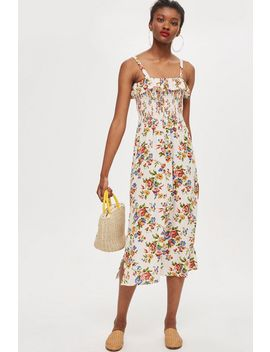 **Keira Floral Shirred Frill Midi Dress By Nobody's Child by Topshop