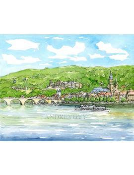 Heidelberg 2, Deutschland Druck Kunstdruck Des Original Aquarell by Andre Voyy
