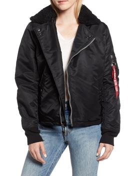 B 15 Removable Genuine Shearling Collar Flight Jacket by Alpha Industries