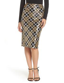 Sequin Plaid Pencil Skirt by Eliza J