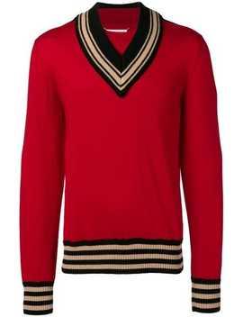 Maison Margieladeconstructed V Neck Sweaterhome Men Maison Margiela Clothing Knitted Sweaters Ozweego Iii Lace Up Sneakersdeconstructed V Neck Sweater by Maison Margiela
