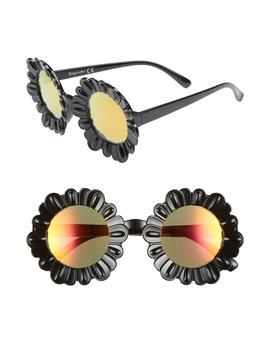 43mm Mirrored Round Flower Frame Sunglasses by Circus By Sam Edelman