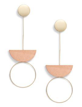 Metal & Wood Drop Earrings by Leith