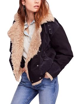 Faux Shearling Denim Bomber Jacket by Free People