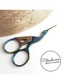 Milward Rainbow Galaxy Stork Sharp Pointed Embroidery Scissors   9cm (3.5 Inches) by Petershams